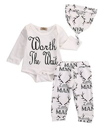 Wholesale Funny Girl Baby Clothes - Mikrdoo Hot Sale Baby Girl Clothes Christmas Sadies Have Arrived Funny Letters Printed Romper Deer Man Pants Hat Suits 3pcs Cotton Wholesale