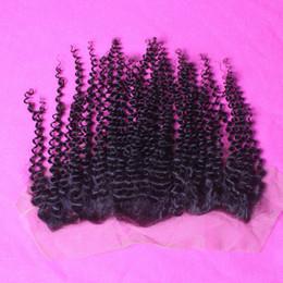 "Wholesale Mongolian Baby Curl Hair - 8A Brazalian Virgin Human Hair Kinky Curly Lace Frontal Closure 13""x4"" Ear to Ear Kinky Curl Lace Frontal Closure with Baby Hair"
