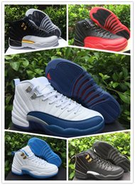 Wholesale Pink Satin Sale - Wholesale sale 2016 retro 12s for men and women XII 12 Black Varsity Red Blue Flu Game shoes XII sneakers brand new 36-47