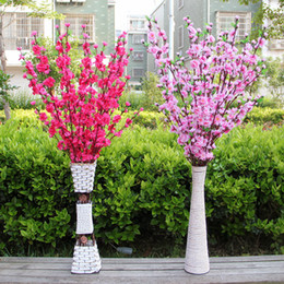 Wholesale Wholesale Peach Trees - 100Pcs Artificial Cherry Spring Plum Peach Blossom Branch Silk Flower Tree For Wedding Party Decoration white red yellow pink 5 color