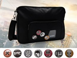 Wholesale Badges Games - Game Watch Dogs 2 Marcus Holloway Crossbody Bag Oxford Cloth Soft Black Cosplay Shoulder Bag With 7PCS Badges