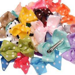 Wholesale Spot Hair Color - 48pcs Spot Dot Grossgrain Ribbon Band 7cm Bowknot Clips Boutique Hair Bows Fashion Accessory Bows With Hairclip