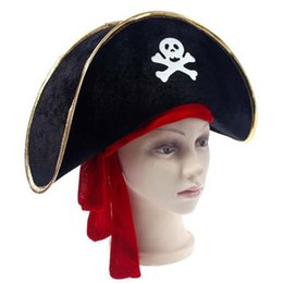 Wholesale Pirates Props - Halloween Props Captain Pirate Jack Caribbean Long Hat Red Ribbon Skull Pattern Pirate Hats Halloween Cosplay Hats Supplies