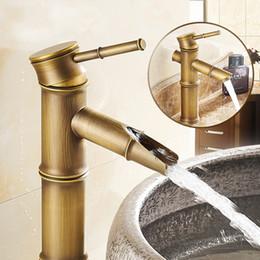 Wholesale Vintage Bathroom Sink Faucets - Wholesale- New Home Decoration Handle Single Bathroom Sink Faucet Antique Bamboo Bath Mixer Faucet Vintage Hot   Cold Water Brass Faucet YS