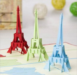 Wholesale Eiffel Tower 15cm - 10*15cm The Eiffel Tower memory Cards 3D Pop UP Invitations Gift Greeting Cards Festive & Party Supplies Free Shipping