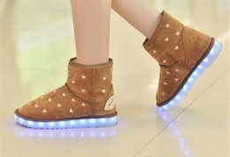 Wholesale Shaped Colorful Lights - Winter Boots For Women LED Shoes Black Yellow Light Up Shoes Luminous Women USB Charging Colorful Glowing Shoes Short Floss Snow Boots