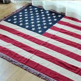 """Wholesale American Flag Throw - Cotton carpet thin blanket """"American flag"""" bay window sofa towel blanket bed cover living room bedroom Felts tapestry 130X180 CM"""