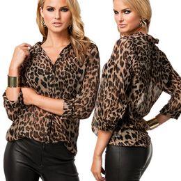 Wholesale Semi Sexy Sheer Sleeve - S-4XL Plus Size Sexy Women Chiffon Shirt Leopard Print Semi-sheer Blouse Long Sleeve Loose Casual Top Brown
