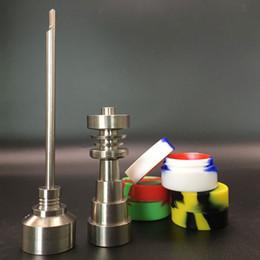 Bocaux métalliques en Ligne-Clous sans titane en titane 6 en 1, capuchon avec trois pots en silicone pour plates-formes pétrolières bangs en verre sans titane GR2 universel
