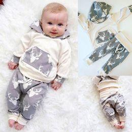 Wholesale Deer Jumpers - Whosale Children Christmas Clothes Sets Little Baby Deer Print Jumper Top +Long Pants 2Pcs Sets Newborn Toddlers Cotton Clothing Sets