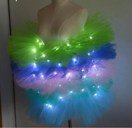 2019 luce neon ragazza Voile Solid Organza Fashion Dance Led Tutu Mini gonna fino al neon Fancy Rainbow Costume adulto Light Corset Saia luce neon ragazza economici