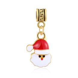 Большая бортовая цепь онлайн-Рождество золото мультфильм Санта браслет подвески большое отверстие шарик ключ пряжки рождественские подвески бусины DIY змея цепи браслет аксессуары