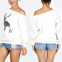Navidad Ciervos Mujeres Moda Saxy Loose Pullover Off One Shoulder Sudadera Deer Print White Pullovers Top desde fabricantes