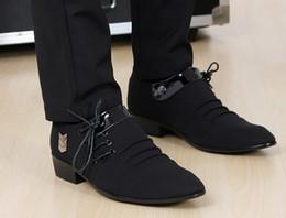 Wholesale Men Korea Shoes - Best sell Korea black lace-up buckles cusp shoes dress shoes men's casual shoes groom wedding shoes