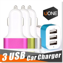 Wholesale Apple Universal Adapter - For iPhone 6s Car Charger Traver Adapter Car Plug Hot Selling Triple 3 USB Ports Car Charger 100pcs DHL Without Package