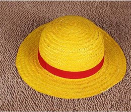 wholesale boater hat Promotion Gros-NEW ONE PIECE LUFFY Anime Cosplay Chapeau Canotier set (5 pcs beaucoup)