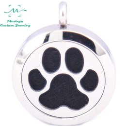 Wholesale Aromatherapy Dogs - 10pcs Round mesinya Dog paw (25mm) Aromatherapy   Essential Oils Stainless Steel Perfume Diffuser Locket Necklace free felt pad