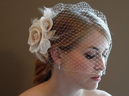 Wholesale Cut Bird Cages - Bridal Wedding Party 2016 Free Shipping New Arrival Stunning Net Ivory Bird Cage With Flower Wedding Veils