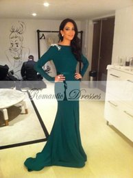 Wholesale Sexy Strech - Emerald Green Long Sleeves Elegant Evening Gown 2016 Fall Mermaid Prom Party Formal Gown Strech Appliques Evening Dresses