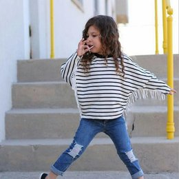 Wholesale Cheap Baby Clothes Long Sleeve - Cheap New Pattern Striped Printed Baby Girls Tees Autumn Girls Cotton Long Sleeve Tassel Girls T-shirt Bat Sleeve Baby Clothes