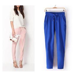 Wholesale Hot Woman Cargo Pants - 2015 Hot Sale Chiffon Pants Summer Women Pants Casual Harem Pants Drawstring Elastic Waist Pants Plus Size Women Trousers