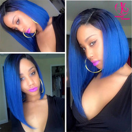 Wholesale Short Dark Green Wig - Hot popular natural look short two tone ombre wigs Blue wig bob wigs synthetic lace front wig heat resisting wigs Synthetic Hair in stock