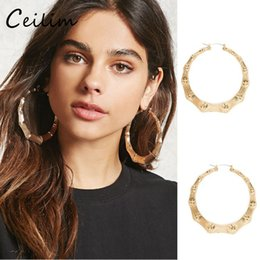 Wholesale Big Gold Bamboo Earrings - 2017 Hot Large Bamboo Joint Hoop Earrings Hip-Hop Golden Ladies Big Circle Hoop Studs Street Dance Club Hoop Earrings