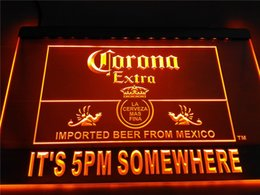 Wholesale Bar Signs Corona - LA419- It's 5 pm Somewhere Corona Beer LED Neon Light Sign