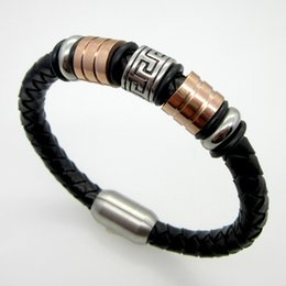 Wholesale Innovation Day - New Fashion Bracelet Jewelry Men Leather Stainless Steel Great Wall lines Bracelets Bangles Man Bracelet Innovation Design