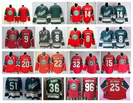 Wholesale Scott Red - Stitched NHL Wild #22 NIEDERREITER #20 Suter 15 Brunette 32 BACKSTROM 36 Scott 96 Bouchard blank Green Red Hockey Jerseys Ice Jerseys