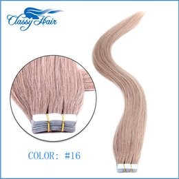 Wholesale Ash Blonde Extension 16 - Ash Blonde Straight Adhesive Skin Wefts Tape In Human Hair Extensions PU Tape Hair 20pcs set 16 18 20 22 24 inches Large Stock