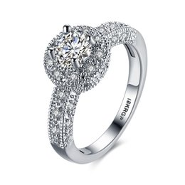 Wholesale Brilliant Diamond Rings - The Unique Women's Fashionable Big Surround Diamond Wedding Platinum CZ Rings Brilliant Charming Modern Ring Good Look Bridal Beautiful Ring