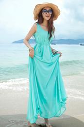 Wholesale Elegant Dress Lace Pencil - Fashion New Summer Elegant Bohemia Style Crew Neck Sleeveless Chiffon Beach Maxi Dress Light Blue 5 colors Drop Shipping