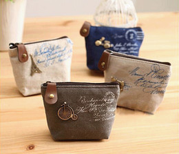 Wholesale Wholesale Vintage Style Handbags - 2016 NEW High quality Vintage canvas Coin purse key holder wallet hasp small Christmas gifts bag clutch handbag