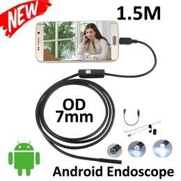 Wholesale Pinhole Led - 7mm Lens Smart Android Phone USB Endoscope 1.5M Cable Snake Waterproof Inspection Android Borescope Camera 6pcs LED
