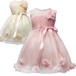 Wholesale Summer Wedding Dresses Colors - PrettyBaby 2 colors girls wedding dress pink&champagne sleeveless 3D flower accessories princess dresses DHL free shipping