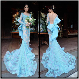 Wholesale New Style Sexy Mermaid Dress - 2017 Prom Dresses New Style Illusion Neckline Mermaid Tulle Lace Appliques Gowns Custom Made Backless Full Long Sleeve Prom Gown