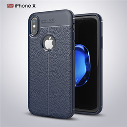 Wholesale Note Rubber Case - Luxury Litch texture soft TPU case for iphone X 10 8 7 7S Plus 6 6S Plus Galaxy S8 Plus note 8 full protective soft Gel rubber back cover