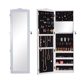 Wholesale Warehouse Usa - USA Warehouse Jewelry Armoire Cabinet Cosmetic Organizer Storage Box Jewelry Display with Real Dressing Mirror Free Shipping