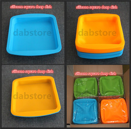"""Wholesale Green Food Grade Silicone - hot DHL silicone wax dish deep pan square shape 8""""X8"""" friendly Non Stick Silicone Container Concentrate food grade silicone tray"""