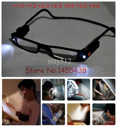 Wholesale Led Reading Glasses Wholesale - 1PC Unisex Adjustable LED Magnetic Reading Glasses Front Connect Magnet LED Reader Folded Glasses With Lights +1.0 +4.0D