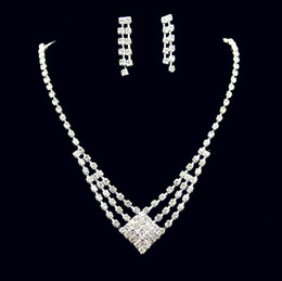 Wholesale Cheap Earring Chains - Cheap Jewelry Sets Rhinestone Necklace and Earrings Set Rhinestone Bling Jewelry Accessories for Prom Party Wear PJ001