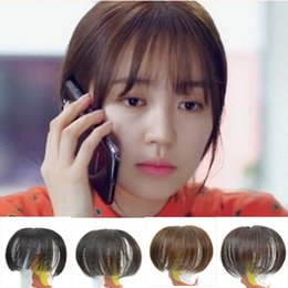 Wholesale Clip Fringe Blonde - Sara Woman's Bangs Synthetic Hair Clip Bang Fringe in Front Hair Extensions 10*14CM Clip on Bangs Frange Janet Blonde Hairpiece