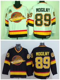 Logo de carreteras online-89 Alexander Mogilny Jerseys Vancouver Canucks Hockey sobre hielo Deportes Carretera Alternativo Negro Blanco Bordado Logos