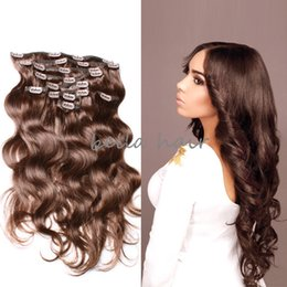 Wholesale Human Hair Extensions Clip Wave - Great quality hotsale free shipping Clip in hair extension brazilian hair human hair weft 115g set 10pcs set