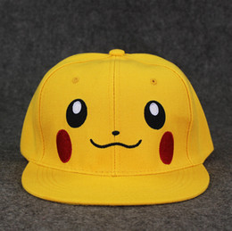 Wholesale Soft Pikachu Hat - Anime Poke Cute Pikachu Cap Hat Plush Soft Cap Doll Toy for kids gift free shipping EMS