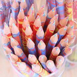 Wholesale Rainbow Pencils - 20pcs lot Mixed Colors Rainbow Pencil Art Drawing Pencils Writing Sketches Children Graffiti Pen School Supplies Retail Wholes