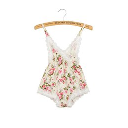 Wholesale Halloween Lace Rompers - V-neck Summer Cotton Romper Baby Girls Lace Rompers Baby Girls Bodysuit Playsuit Backless Floral Girls Clothes