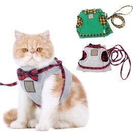 Wholesale Kit Harness - Cat Harnesses Cat Traction Kit Elegant British Style Jacket+Leash Set Gray&Green Cute Bow Quality Fabrics Good Ventilation