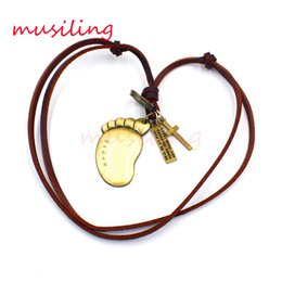 Wholesale Leather Couple Necklaces - musiling Jewelry Leather Necklace Pendants Couple Jewelry Golden Foot Accessories Metal Pendulum Amulet Hip Hop Jewelry Decorations Gift